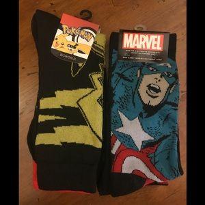 Pokémon Pikachu & Captain America Crew Socks